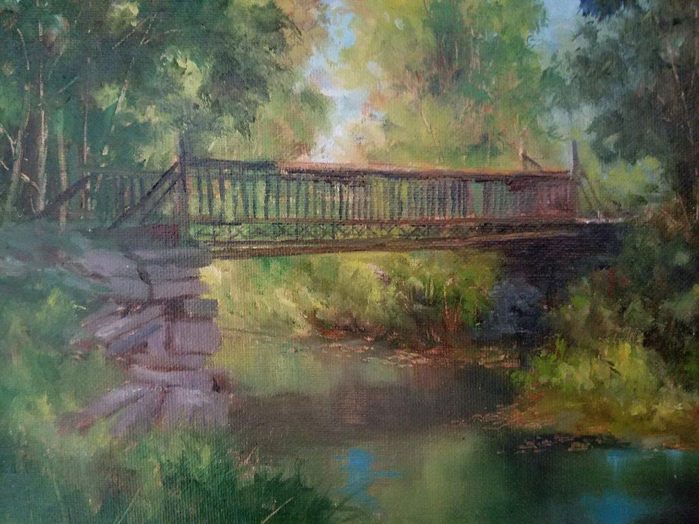 "Judy Soprano ""Hiking Trail"" 8x10 oil $400."