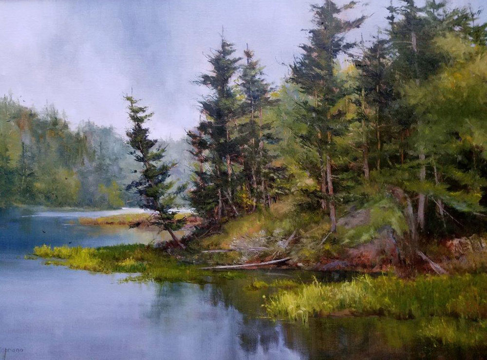 "Judy Soprano ""Pond at Paul Smith"" 18x24 oil $900. SOLD"