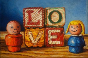 """Andrew Wales """"Love"""" 6x6 acrylic $100. gallery wrap"""