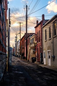 "Chris Walters ""Corning Alleyway Sunset"" inquire for available ordering"