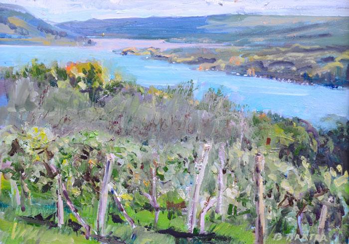 "Bruce Baxter ""Autumn Vineyard"" 12x16 oil $800"