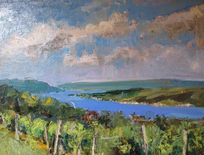 "Bruce Baxter ""Crooked Lake Vineyards"" 16x20 oil $950."
