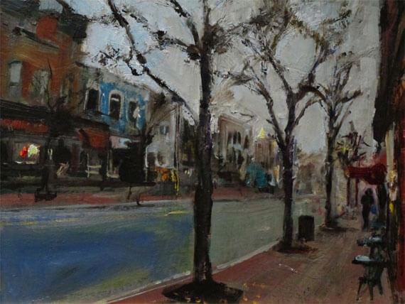 "Bruce Baxter ""West Market Street"" 11x14 oil $600"