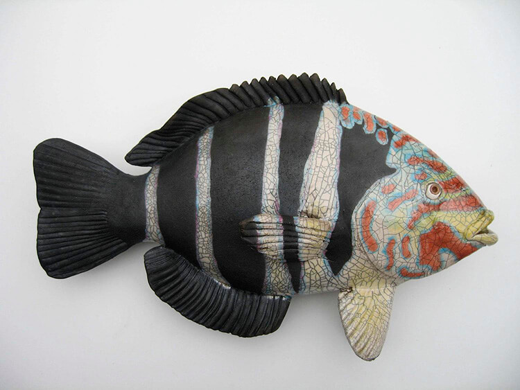 "Alan and Rosemary Bennett ""Five Line Wrasse"" raku fired"