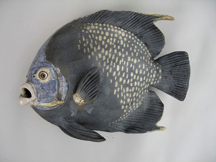 "Alan and Rosemary Bennett ""French Angel Fish"" raku fired"