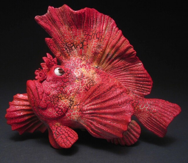 "Alan and Rosemary Bennett ""Red Leaf Scorpion Fish"" fish glaze"