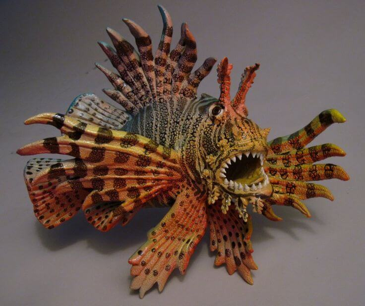 "Alan and Rosemary Bennett ""Lionfish"" fish glaze Inquire"