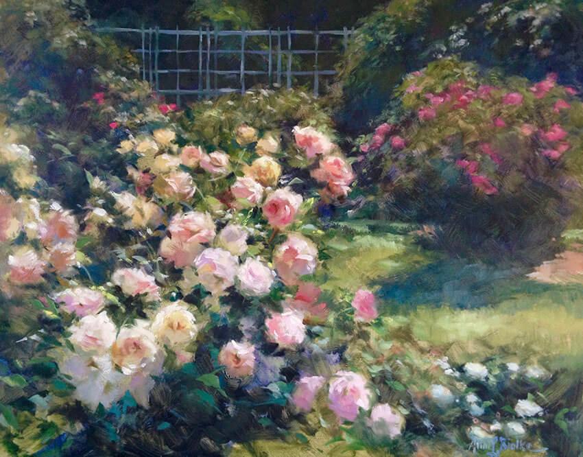 """Anne Bialke """"In the Rose Garden"""" 16x20 oil $925."""