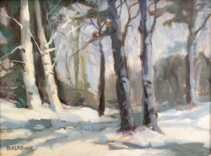 "Anne L. Bialke ""Twin Birches"" 6x8 oil $260."