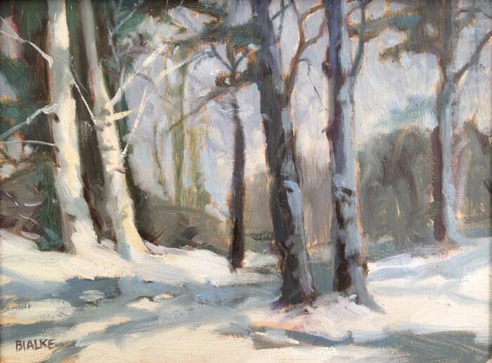 "Anne L. Bialke ""Twin Birches"" 6x8 oil $260."
