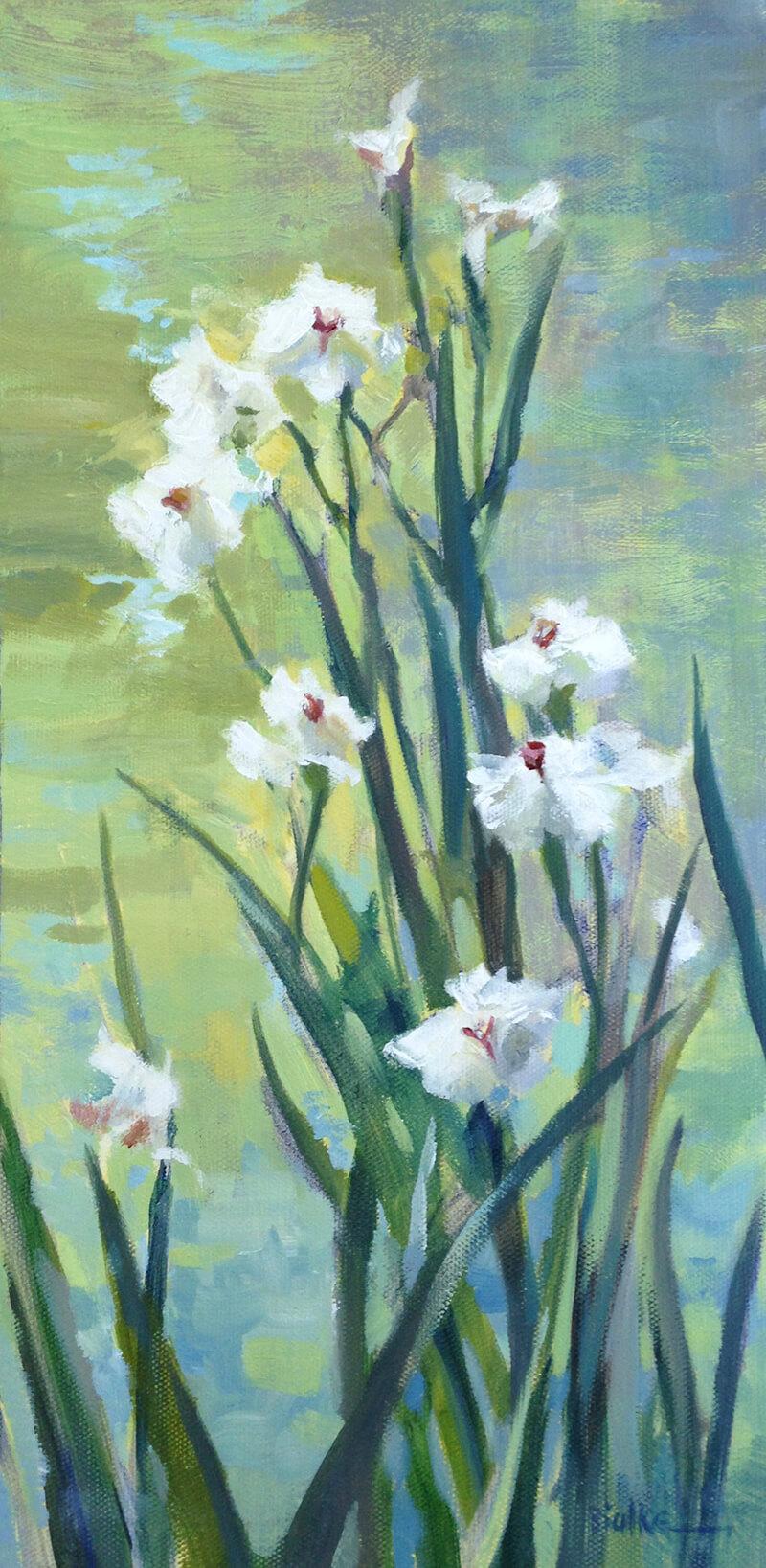 """Anne Bialke """"Water Dance"""" 16x8 oil $350."""