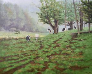 "Bibi S. Brion ""Wooded Pasture"" 24x30 oil $3,500."