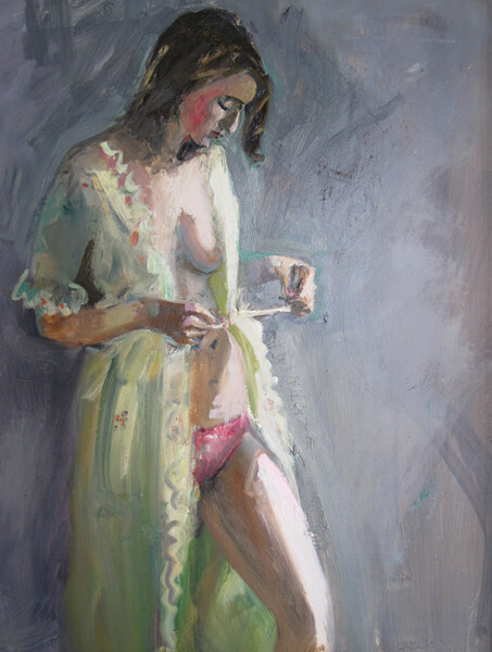 """Bruce Baxter """"Pretty Robe"""" 20x16 oil $1,000. INQUIRE *"""