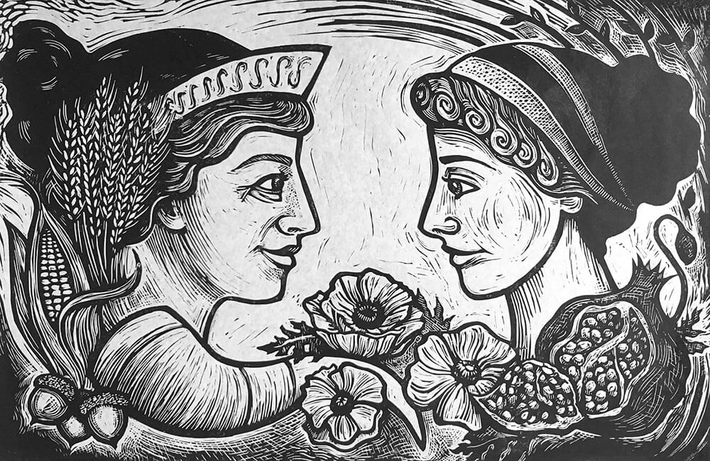 "Cynthia Cratsley ""Demeter and Persephone"" 12x18 linocut $350"