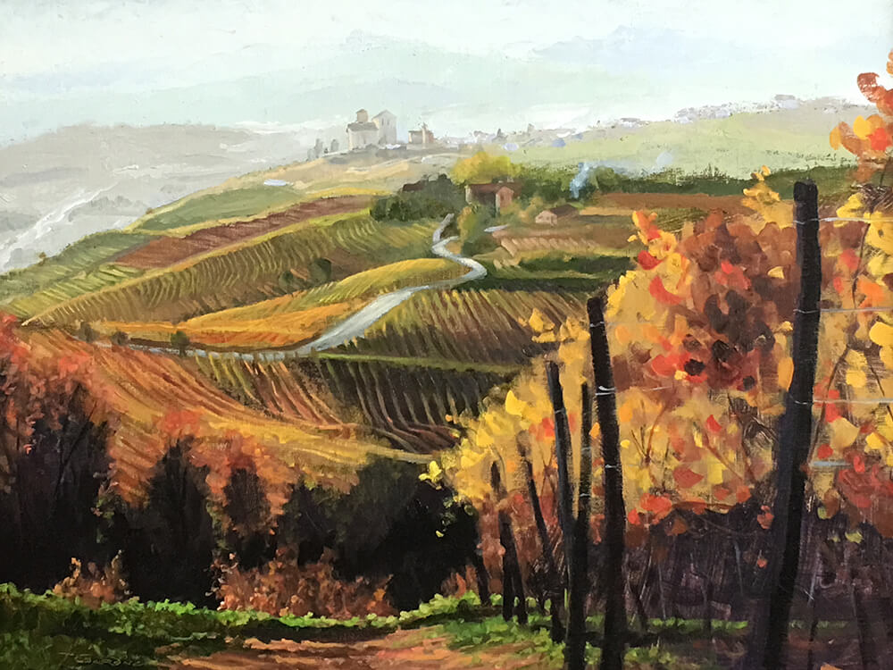 "Tom Gardner ""Italian Vineyard"" 18x24 oil $1,800"