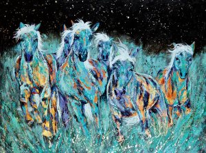 "Amy Hutto ""Blue Thunder"" 36x48 acrylic/gold leaf gallery wrap $3,200 SOLD"