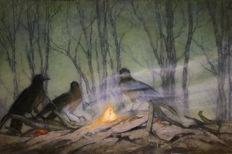 "Martin Poole ""Murder of Crows"" 20x30 oil $2,800. SOLD"