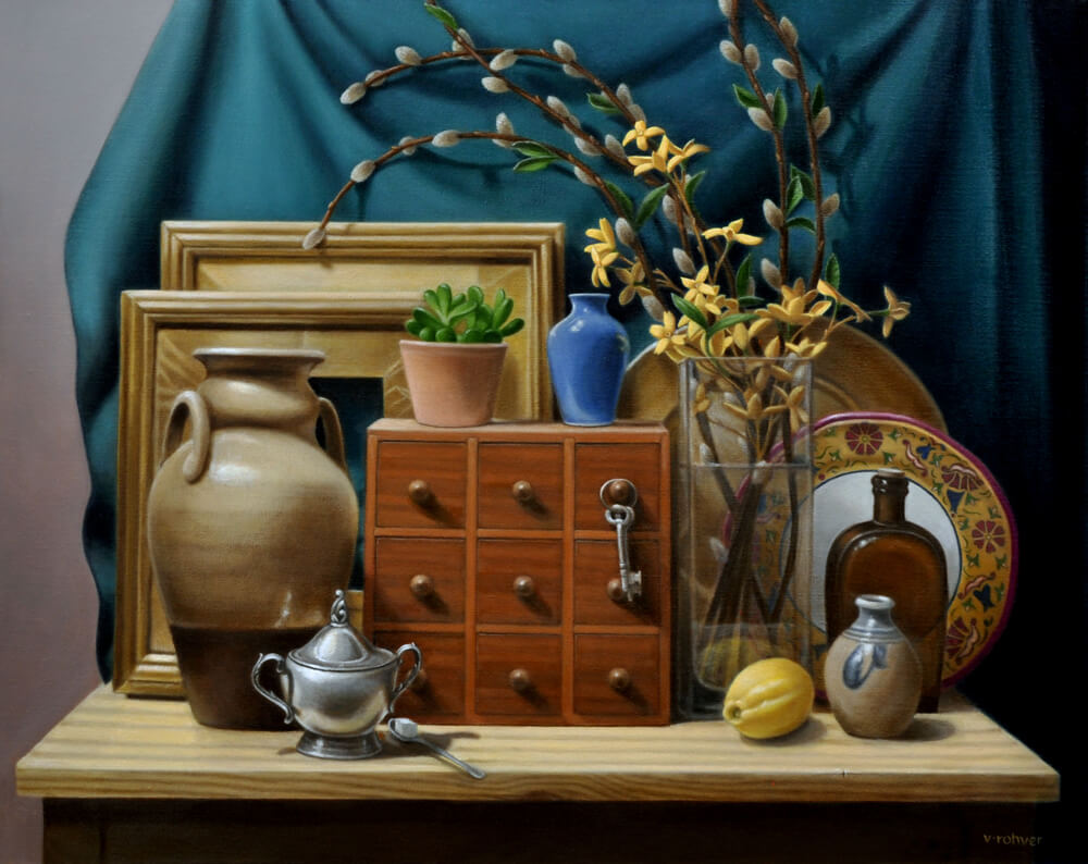 "Valorie Rohver ""Springtime in the Studio"" 24x30 oil $2,400."