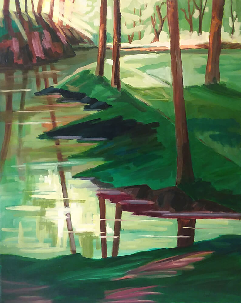 "Lucretia West ""Woodland Peace"" 30x24 oil $1,500."