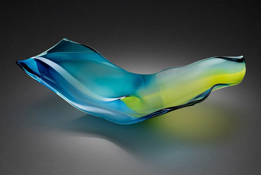 "Paul Willsea and Carol O'Brien ""Blue/Green Tabletop and Wall Sculpture"" blown glass $ Inquire (display on a table or use rotatable wall mount)"