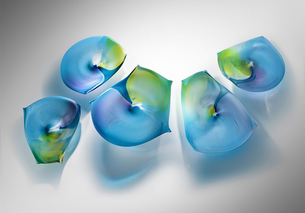 "Paul Willsea and Carol O'Brien ""Blue/Green Tabletop and Wall Installation"" blown glass $ Inquire (display on a table or use rotatable wall mounts)"