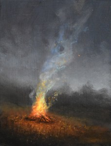 "Sean Witucki ""Hillside Fire"" 7x5 oil/board $450."