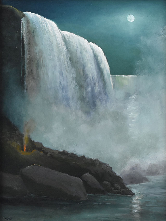 "Sean Witucki ""Niagara Midnight"" 12x9 oil/board $1,000."