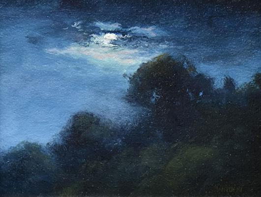 "Sean Witucki ""September Moon"" 4x5 oil/paper $350."