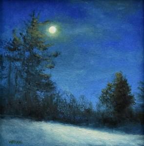 "Sean Witucki ""Snow Moon"" 5x5 oil/paper $400."