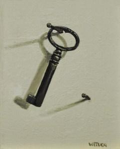 """Sean Witucki """"Key"""" 4x3 oil/aluminum $300."""