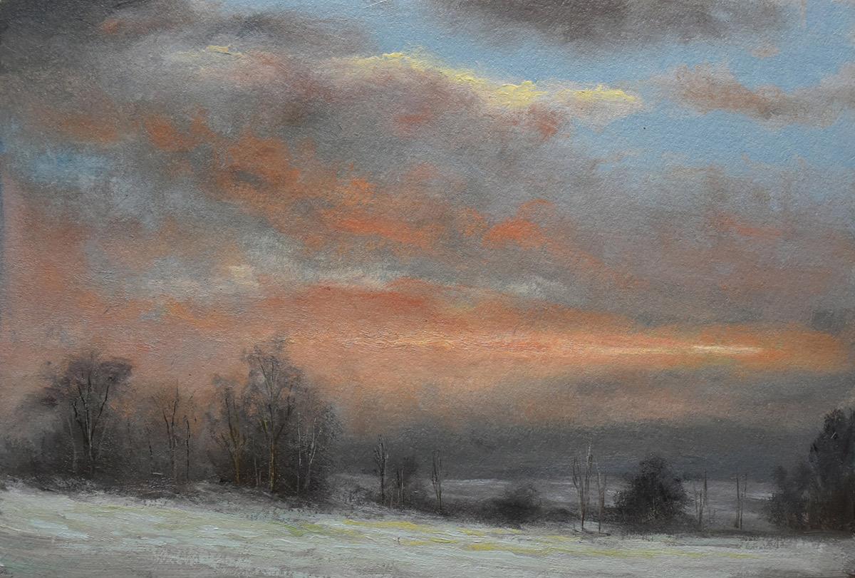 "Sean Witucki ""Warm Snow"" 6x9 oil/paper $700."