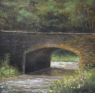 "Sean Witucki ""Wolf Creek Bridge"" 4x4 oil/board $350."