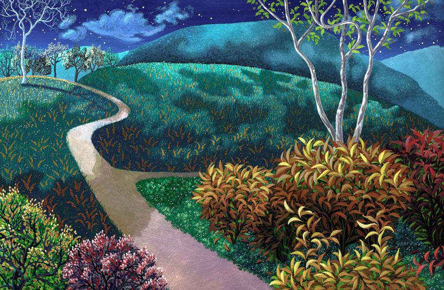 """Wynn Yarrow """"Around the Bend"""" 11x17 acrylic gouache $1,200."""
