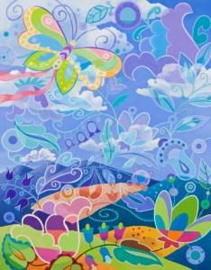 "Wynn Yarrow ""Dreaming of Dancing"" 18x14 acrylic gouache (unglassed/varnished) $1,200."