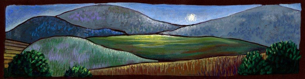 "Wynn Yarrow ""Evening"" 3x11 mixed media $240."