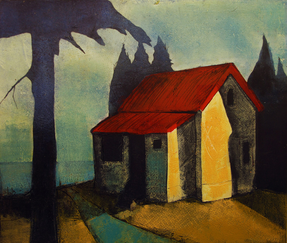 "Treacy Ziegler ""Cottage on the Lake"" 24x31 monoprint $1,500."