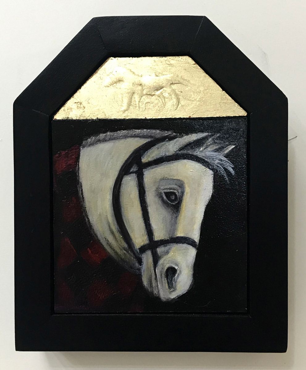 """Treacy Ziegler """"I Could Have Been Braver"""" 8x6 oil/gold composite on panel $490. SOLD"""