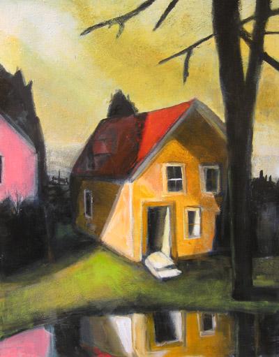 """Treacy Ziegler """"Lake Cottage"""" 27x21 oil $2900."""