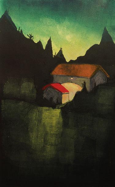 """Treacy Ziegler """"Night Pond"""" 31x20 monoprint $1,100."""