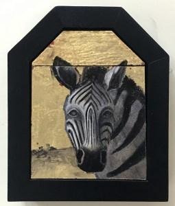 "Treacy Ziegler ""Tattooed"" 8x6 oil/gold composite on panel $490."