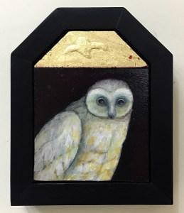 "Treacy Ziegler ""The Lambent Night"" 8x6 oil/gold composite on panel $490."