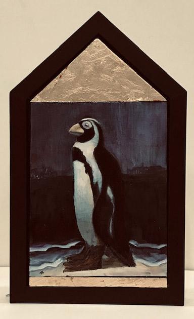 "Treacy Ziegler ""When the Land Becomes Sea - Penguin"" 19x12 oil/panel $1,500."