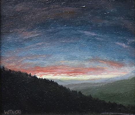 "Sean Witucki ""Arching Sky"" 4x4.5 oil/paper $350."