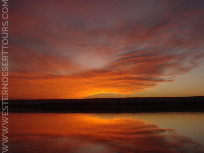 Spectacular sunset at Lake Marun in Bahariya Oasis