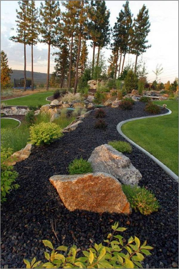 black lava rock landscaping ideas