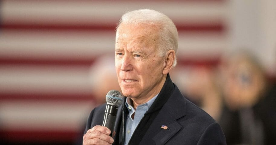 Former Vice President Joe Biden, now the presumptive Democratic presidential nominee, speaks during a campaign event at Girls Inc. on Feb. 4, 2020, in Nashua, New Hampshire.