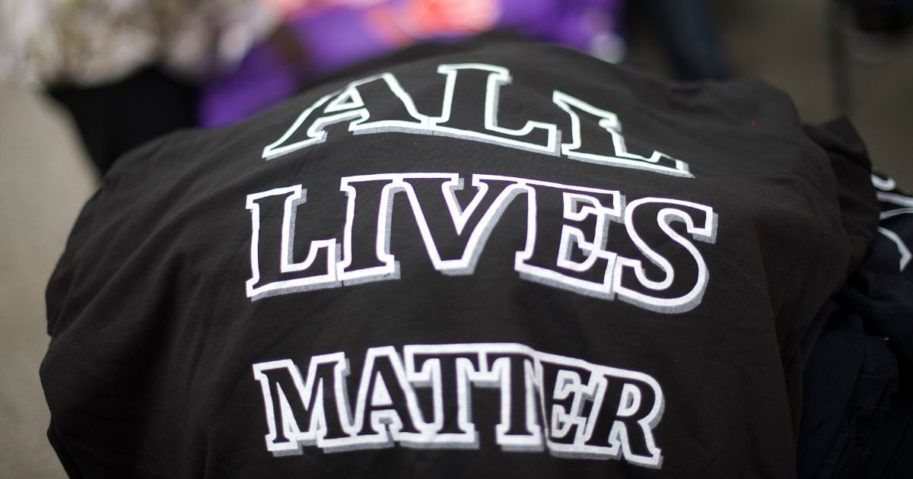 """T-shirts stating """"All Lives Matter"""" are seen on April 25, 2015, in Baltimore."""