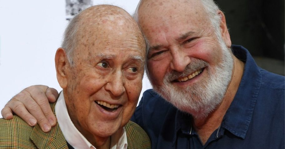 Carl Reiner, left, and his son Rob Reiner in 2017.