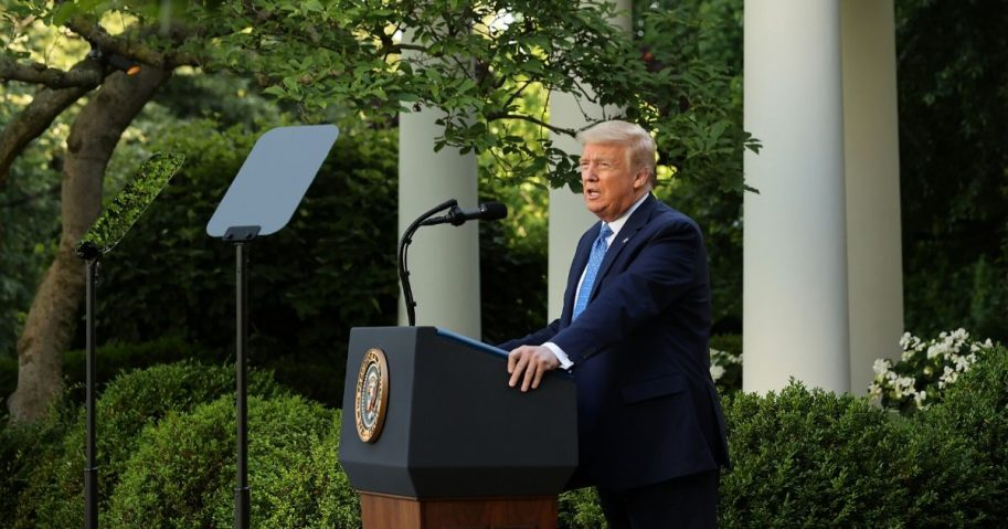 President Donald Trump makes a statement to the media in the Rose Garden about restoring law and order on June 1, 2020, in Washington, D.C.