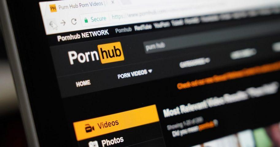 Stock image of the pornography website Pornhub.